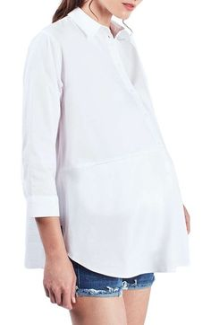 483bb24d9398f Topshop 'Jet' Poplin Maternity Shirt available at #Nordstrom Pregnancy  Shirts, Poplin,