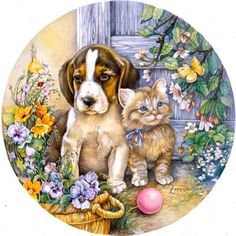 Fetch by Leesa Whitten Cat Drawing, Painting & Drawing, Art Carte, Image Chat, Cute Friends, Decoupage Paper, Dog Art, Vintage Cards, Illustrations