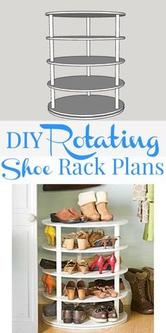 Whether you have a big family or a shoe obsession, this rotating shoe rack is perfect for your home! Simply click in to get Remodelaholic's rotating five-tier shoe rack building plan and start hammering it out. Shoe Rack Closet, Diy Shoe Rack, Shoe Racks, Diy Storage, Diy Organization, Storage Spaces, Shoe Storage, Storage Ideas, Storage Solutions