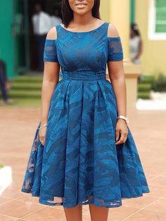 Digital Print Cold Shoulder Mesh Pleated Dress #africanfashion