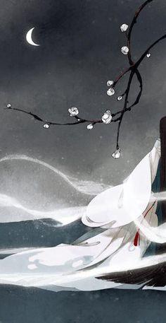 """""""Bất hướng Đông Sơn cửu, Tường vi kỷ độ hoa? Bạch vân hoàn tự tán, Minh nguyệt lạc thùy gia?"""" - Lý Bạch (Tranh: Ibuki Satsuki)"""