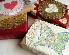 recycle old maps and paper doilies  for wraping paper