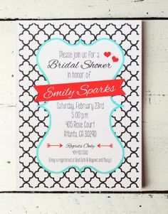 Bridal Shower Invitation Custom Red and by WhenItRainsShop on Etsy, $18.00