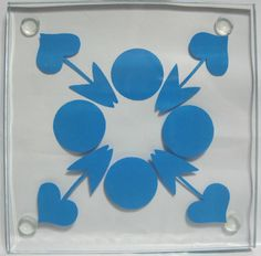 4 NEW Art Deco Blue Dot Floral Hearts Square by DianesBargainShack, $12.00