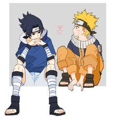 Young Sasuke Uchiha and Naruto Uzumaki
