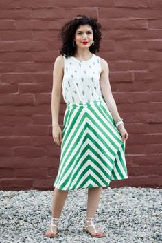 Cactus Print Top And Anthropologie Chevron Printed Skirt Results In A Fun And Whimsical Pattern Mixing