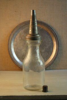 Vintage Antique Glass Oil Bottle with Pour by AmericanVintageFare