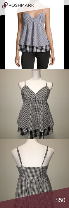 Romeo & Juliet Couture Black Layered Tank Top Women's Black Layered Gingham Tank Top Romeo & Juliet Couture Tops Tank Tops