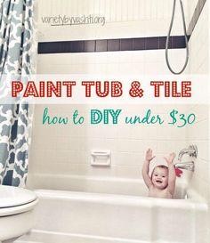 How I Painted Our Bath Tub, Tile & Floor DIY Under $30 …