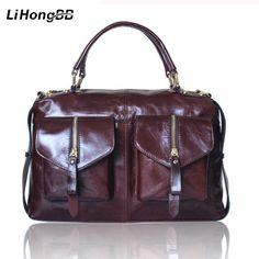 a65271af4c7 High Quality Women Bag Genuine Leather Handbags for Ladies Vintage Totes  Oil Wax Hand Bag Female