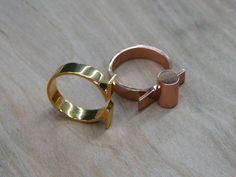 Nesting Cylinder 2 Ring Stacking Set  (rose gold, gold)
