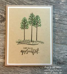 handmade card featuring Thoughtful Branches from AverysOwlery.com ... kraft ... like the look of green and brown inks for the trees ... clean and simple earthy look ... Stampin'Up!