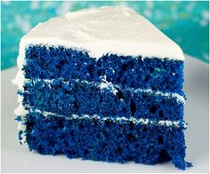 Blue Velvet Cake- needs more frosting in between! That's not nearly enough :-p