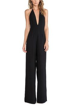 Deep V Halter Backless Jumpsuit  -YOINS
