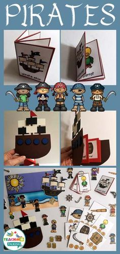 Pirate Vocabulary Activities - Use this resource with your preschool, Kindergarten, or 1st grade classroom or home school students. It's great for your vocabulary or speech therapy lessons. You get a craftivity, foldable, mini books, write the room worksheet, counting syllables, and an interactive vocabulary scene. It's great for the pirate themed classroom to use at ANY time of year. Also great for