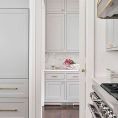 Things We Love: Beautiful Kitchen Cabinetry - Design Chic Light Grey Kitchens, Cool Kitchens, Dream Kitchens, Light Gray Cabinets, White Cabinets, Clean Cabinets, Grey Cupboards, Linen Cabinets, Home Luxury