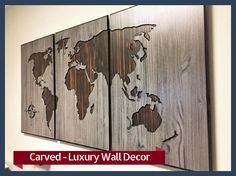 Carved Wooden Map, Luxury Home Wall Decor, Office Decor, Wood World Map, Anniversary Gift, Solid Wood, Distressed, Rustic, Vintage Map by HowdyOwl on Etsy