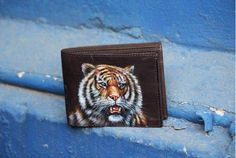 Hand Painted Tiger Face On Men's Leather Wallet By VKALART