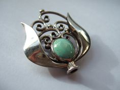 Art Nouveau / Jugendstil / Secessionist / Arts and Crafts sterling silver and turquoise brooch. Handmade. #39. View 2.