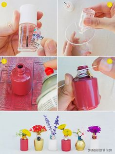 Turn used nail polish bottle into mini vaseAdd some colors to your room by up-cycling empty nail polish bottles into these colorful flower bud vases! Supplies: empty or almost empty nail polish bottle; plastic cup (disposable one); Nail Polish Case, Old Nail Polish, Nail Polish Crafts, Plastik Recycling, Empty Nail Polish Bottles, Empty Bottles, Perfume Bottles, Do It Yourself Nails, Diy Nagellack