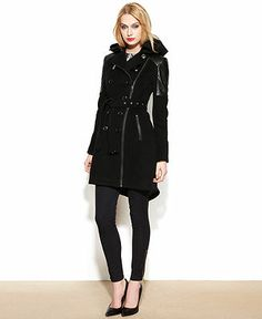 BCBGeneration Double-Breasted Wool-Blend Hooded High-Low Coat