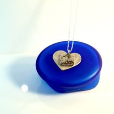 Love Pug Silver Heart Pendant - Etched silver Pug lovers pendant