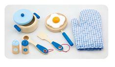 Drewniany Zestaw śniadaniowy BLUE do zabawy