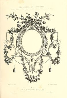 """Printable - Engraving; French Decorative Floral Frame, 1880  300ppi, 7x10"""""""