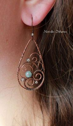 Vásárolja fülbevaló kianit - kék kianit fülbevaló, gyönyörű fülbevaló, réz, este fülbevaló
