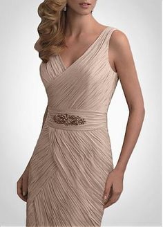 Fabulous Chiffon Sheath V- Neckline Mother of the Bride Dress With Jacket