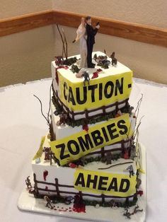 Zombie wedding cake.. Matt's dream cake!! Maybe his grooms cake if he's nice!