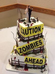 Zombie wedding cake.. Matt's dream cake!! Maybe his grooms cake if he's nice!