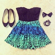 Black lace top with patterned skirt