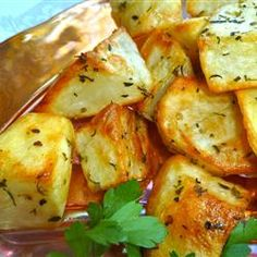 Love these oven roasted potatoes.  Easy to play with the seasonings and always so yummy!!!  http://allrecipes.com/recipe/oven-roasted-potatoes/detail.aspx