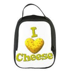 funny cute i heart love cheese cheesey heart Neoprene Lunch Bag