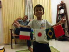 In all smiles after making the flags