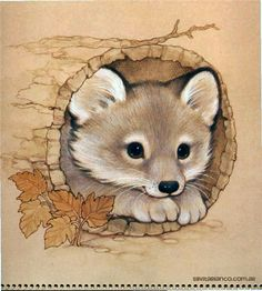 Ruth Morehead Forest Friends Collection fox in log Cute Animal Drawings, Cute Drawings, Horse Drawings, Animals Watercolor, Fox Art, Forest Friends, Cute Illustration, Cute Baby Animals, Cute Cartoon