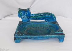 Mid-century-modern-large-RARE-Bitossi-Raymor-pottery-Cat-ashtray