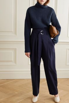 Navy cashmere Slips on cashmere Hand wash Imported Turtleneck Outfit, Cashmere Turtleneck, Sweater Outfits, Cute Outfits, Trouser Outfits, Beautiful Outfits, Monochrome Outfit, Bleu Marine, Look Fashion