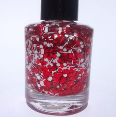 Rydell Forever Red and White Glitter Nail Polish by LacAttack. $8.00, via Etsy.