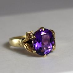 A personal favorite from my Etsy shop https://www.etsy.com/listing/259899638/vintage-amethyst-gold-ring-size-4-12