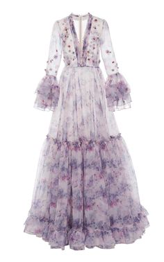 Tiered Embellished Printed Organza Gown by Costarellos Organza Dress, Chiffon Dress, Casual Dresses, Fashion Dresses, Looks Vintage, Chic Dress, Beautiful Gowns, Dream Dress, Pretty Dresses