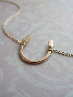 LUCKY ROSE GOLD HORSESHOE NECKLACE - PETITE GOLD HORSESHOE NECKLACE - LUCKY HORSESHOE - MODERN CLASS  $59.00