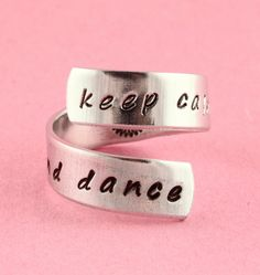 Keep Calm and Dance Twist Ring  Adjustable by StampinOffThePath
