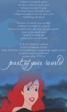 mermaid quotes disney little songs ideas best 17 Quotes Disney Little Mermaid Songs 17 Best Ideas Quotes Disney Little Mermaid Songs 17 Best IdeasYou can find Disney songs and more on our website Walt Disney, Disney Pixar, Disney Nerd, Disney Films, Disney And Dreamworks, Disney Song Lyrics, Disney Songs, Disney Music, Disney Quotes