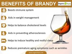 Some of the most interesting and unusual health benefits of brandy include its ability to slow the signs of aging, treat certain types of cancer, boost heart health, improve your sleep patterns, control weight issues, reduces respiratory issues, and increases the strength of the immune system.