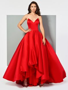 Ericdress V Neck Ball Gown Red Evening Dress - Fashion Style Evening Dresses Online, Ball Gowns Evening, Dress Online, Fancy Gowns, Models, Jumpsuits For Women, Special Occasion Dresses, Designer Dresses, Girls