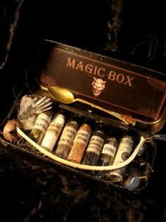 A dollop of this, a snip of that. two drops of this powder and one of that. a spoonful of the blue, two of the white. you will see a magical fairy display tonight. Wiccan, Witchcraft, Magick Spells, Just Add Magic, Maurice Sendak, Potion Bottle, Magic Box, Practical Magic, Book Of Shadows