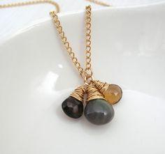 Labradorite Gemstone Necklace / Sarah Hickey Jewellery Gemstone Necklace, Gold Necklace, Pendant Necklace, Jewelry Gifts, Unique Jewelry, Jewellery, Smoky Quartz, Necklace Lengths, Labradorite