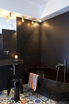 This Bachelor bathroom - floor color brings out the Stormy Weather wall color.